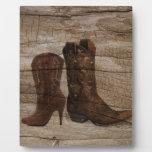 País occidental rústico de las botas de vaquero de placas de plastico