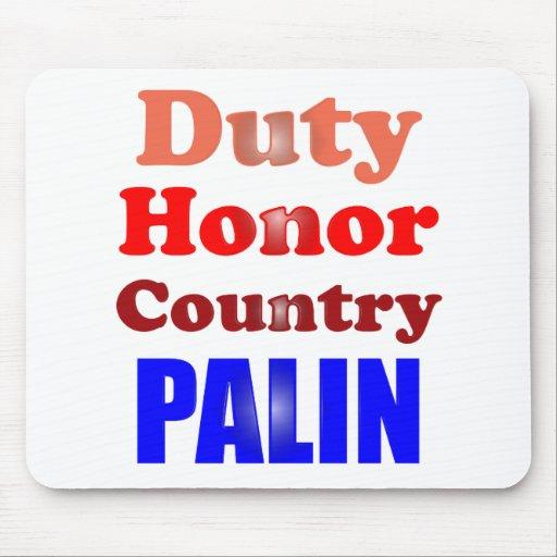 País Palin del honor del deber Alfombrillas De Raton