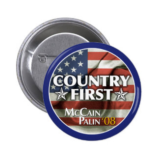 País primero: Botón de McCain-Palin Pins