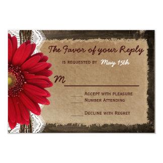 País rojo de madera rústico de la margarita que invitación 8,9 x 12,7 cm
