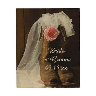 País rosado subió y boda occidental de las botas cuadro de madera