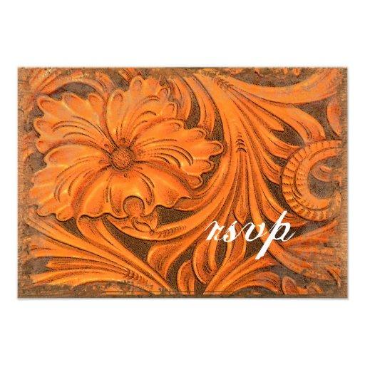 País rústico de la flor que casa la tarjeta de la  invitacion personal