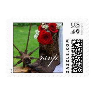 País rústico de las botas de vaquero de los rosas timbres postales