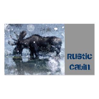 país rústico de los alces del invierno de la fauna tarjetas de visita