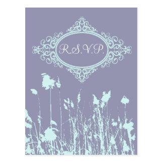 País rústico púrpura moderno WeddingFavor Postal
