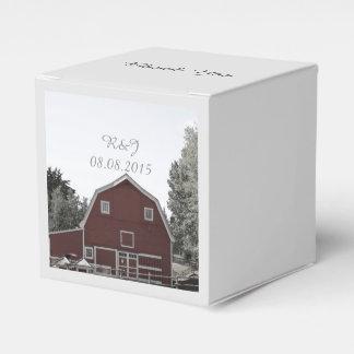 país rústico que casa el boda rojo del granero cajas para regalos de boda