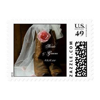País subió y boda occidental de las botas de timbre postal