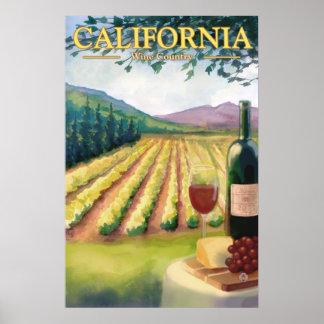 País vinícola de California - poster del viaje del