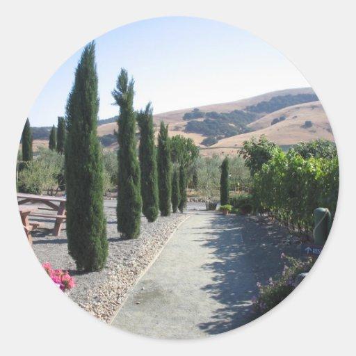 País vinícola pegatina redonda