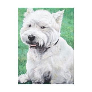 País white de drogado de oeste Terrier Impresión En Lienzo