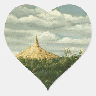 Paisaje 1170 de la roca de la chimenea pegatina en forma de corazón