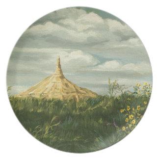 Paisaje 1170 de la roca de la chimenea plato para fiesta