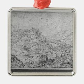 Paisaje, 1553 adorno cuadrado plateado