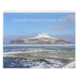 Paisaje 2012 de la isla de Unalaska Calendario De Pared