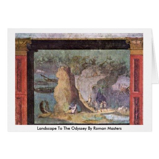 Paisaje a la odisea por los amos romanos tarjeta de felicitación