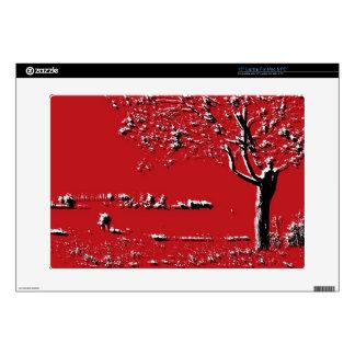 Paisaje abstracto con los árboles en rojo - piel portátil 38,1cm skins