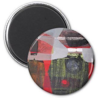 Paisaje abstracto de Potosi Bolivia 28.9x19.6 Imán Redondo 5 Cm