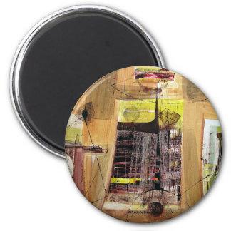 Paisaje abstracto de Potosi Bolivia 30.6x21.3 Imán Redondo 5 Cm