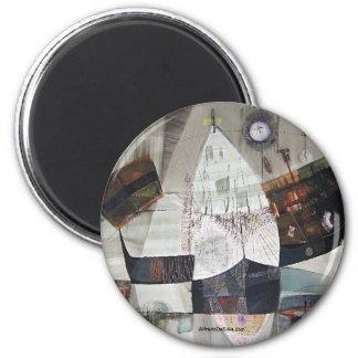 Paisaje abstracto de Potosi Bolivia 30.6x22 Imán Redondo 5 Cm
