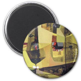 Paisaje abstracto de Potosi Bolivia 30x22.6 Imán Redondo 5 Cm