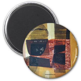 Paisaje abstracto de Potosi Bolivia 31.6x21.6 Imán Redondo 5 Cm