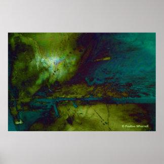 Paisaje abstracto del © P Wherrell en azul y verde Póster