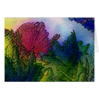 Paisaje abstracto en acuarelas - salida del sol de felicitaciones
