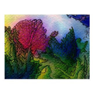 Paisaje abstracto en acuarelas - salida del sol de tarjeta postal
