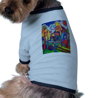 Paisaje abstracto en color camisa de mascota