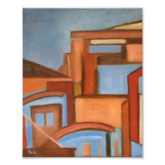 Paisaje abstracto occidental de Brown azul del pai Fotografías