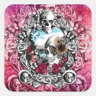 Paisaje adornado rosado del cráneo pegatina cuadrada