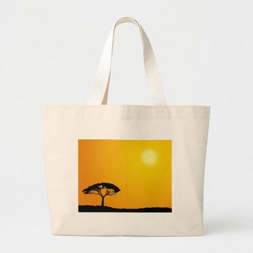 Paisaje africano bolsa tela grande