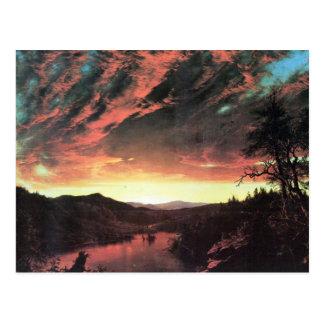 Paisaje aislado en la puesta del sol, iglesia de postal