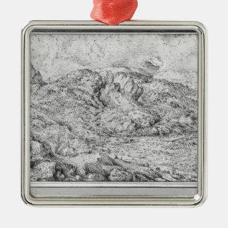 Paisaje alpino, 1553 adorno cuadrado plateado