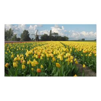 Paisaje amarillo del molino de viento del campo de tarjetas de visita