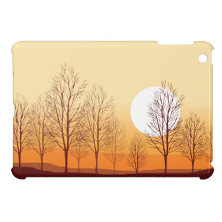 Paisaje-Árboles y pájaro amarillos de la naturalez iPad Mini Coberturas