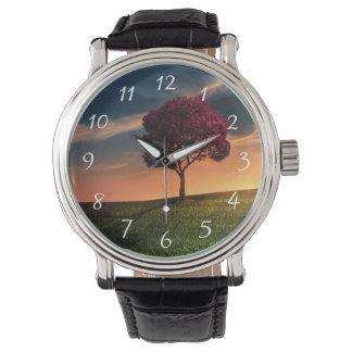 Paisaje asombroso con un árbol rojo en la puesta reloj de mano