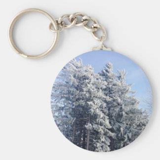 Paisaje austríaco del invierno llavero redondo tipo chapa