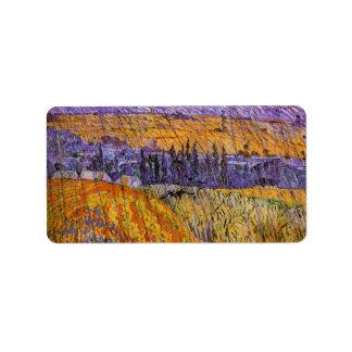 Paisaje Auvers de Van Gogh en la lluvia, tiempo Etiquetas De Dirección