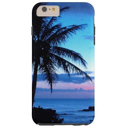 Paisaje azul de la puesta del sol del rosa funda de iPhone 6 plus tough
