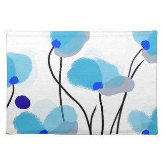 Paisaje azul de las flores manteles