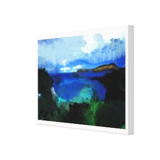 paisaje azul del extracto de la acuarela lona estirada galerias