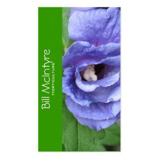 Paisaje azul del jardín del hibisco plantilla de tarjeta de negocio