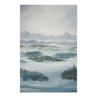 Paisaje azul pacífico del lago brumoso mountain papeleria personalizada
