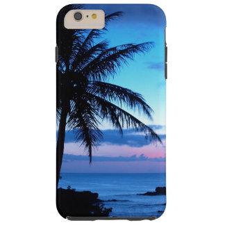 Paisaje azul rosado bonito de la puesta del sol de funda de iPhone 6 plus tough