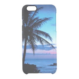 Paisaje azul rosado bonito de la puesta del sol de funda transparente para iPhone 6/6S