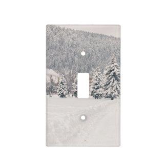 Paisaje blanco del país de las maravillas del invi placas para interruptor