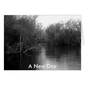 Paisaje blanco y negro del río de la foto tarjeta de felicitación