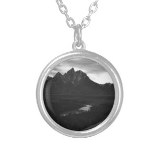 Paisaje blanco y negro del río Snake Teton Colgante Redondo