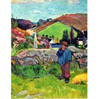 Paisaje bretón con Swineherd de Gauguin Paul Esculturas Fotográficas